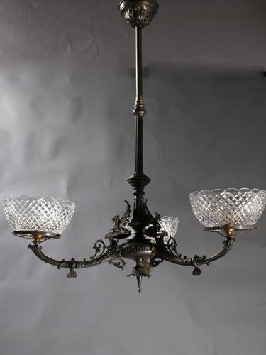 Genuine Antique Lighting 3 Light Neo Grec Egyptian Revival