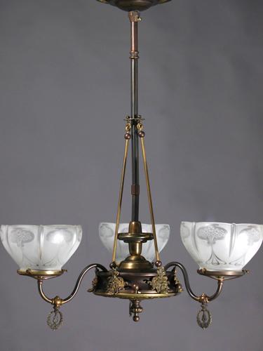 3 light art nouveau gas chandelier