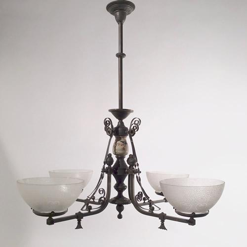 4-Light Aesthetic Gas Chandelier - Genuine Antique Lighting: 4-Light Aesthetic Gas Chandelier