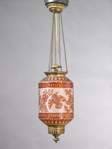 genuine antique lighting drop down oil fixture with. Black Bedroom Furniture Sets. Home Design Ideas