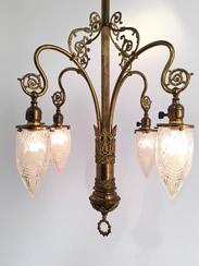 Genuine Antique Lighting 4 Light Art Nouveau Chandelier