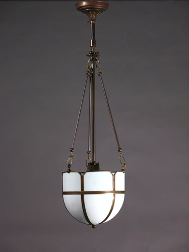 Arts and crafts opaline glass inverted domes
